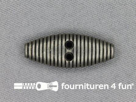 Houtje touwtje knoop 30mm zwart zilver