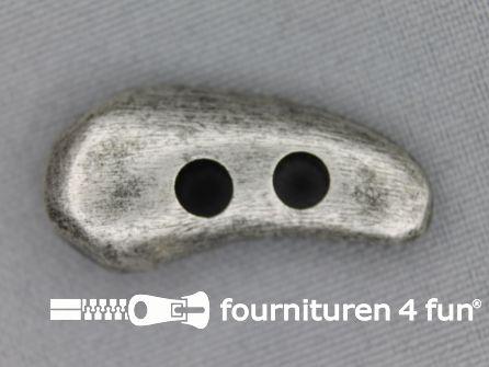 Houtje touwtje knoop 32mm zilver