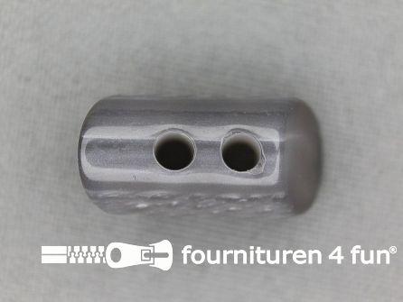 Houtje touwtje knoop 23mm kunststof grijs
