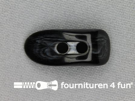 Houtje touwtje knoop 30mm kunststof zwart