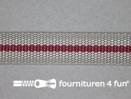 Gestreept tassenband 20mm grijs - bordeaux
