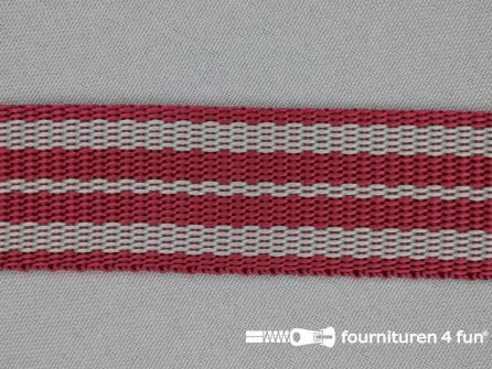 Gestreept tassenband 30mm bordeaux - grijs