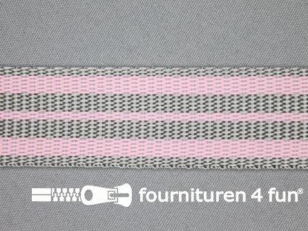 Gestreept tassenband 30mm licht roze - grijs