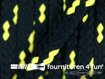 Jassen koord 5mm zwart - neon geel