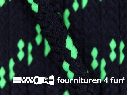 Jassen koord 5mm zwart - neon groen