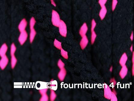 Jassen koord 5mm zwart - neon roze