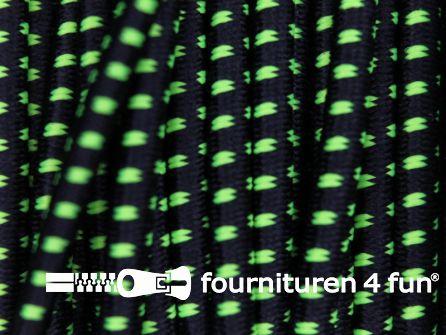 Elastisch koord 2,5mm zwart - neon geel blokjespatroon