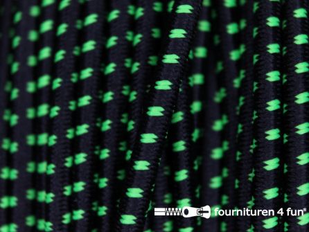 Elastisch koord 2,5mm zwart - neon groen - blokjespatroon