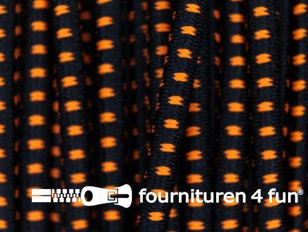 Elastisch koord 2,5mm zwart - neon oranje - blokjespatroon