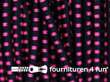 Elastisch koord 2,5mm zwart - neon roze - blokjespatroon