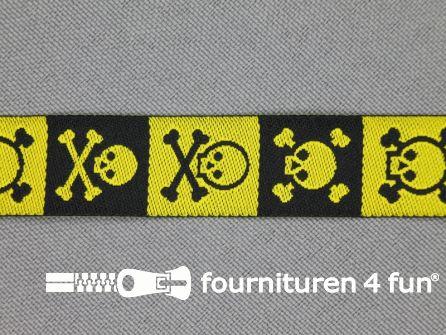 Kinderband 15mm doodshoofd zwart - geel