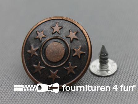 Jeansknopen 20mm rood brons 10 stuks