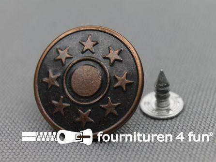 Jeansknopen 20mm rood brons 100 stuks