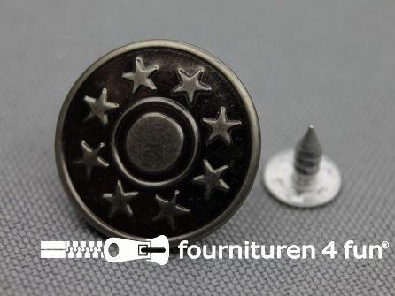 Jeansknopen 20mm zwart zilver 100 stuks