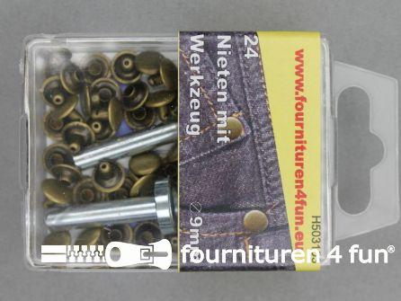 Siernieten 9mm geel brons 24 stuks