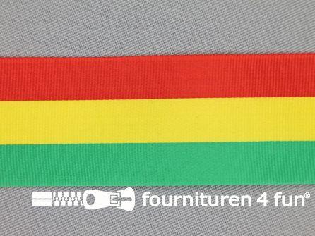 Carnavals lint 30mm rood, geel en groen