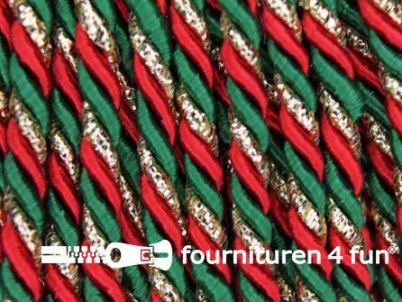 Viscose meubel koord 4mm rood - groen - goud