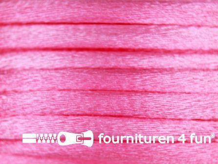 Glans koord 3mm barbie roze 25 meter