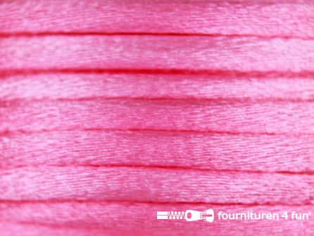 COUPON Glans koord 3mm barbie roze 6,35 meter