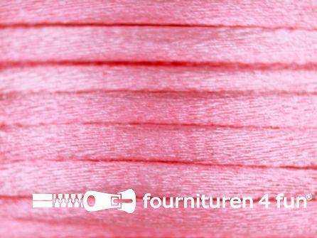Glans koord 3mm licht roze 25 meter
