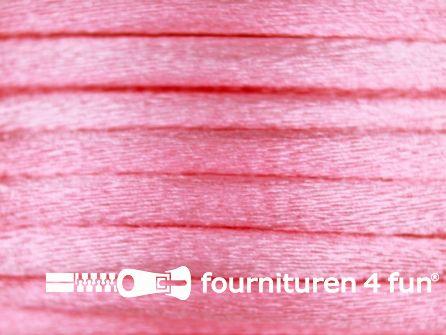 COUPON Glans koord 3mm licht roze - 15,55 meter