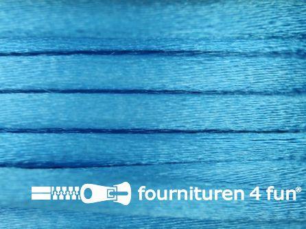 COUPON Glans koord 3mm aqua blauw - 24,9 meter
