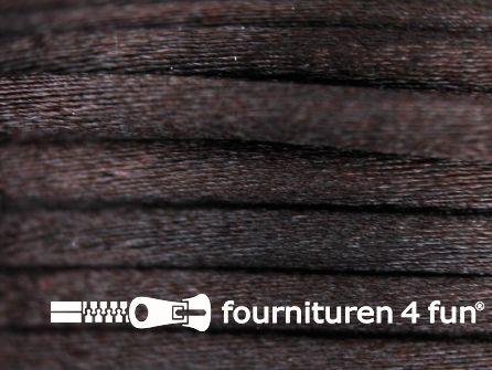 Glans koord 3mm donker bruin 25 meter