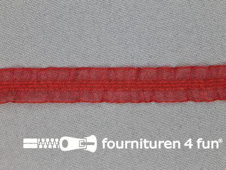 Elastisch ruche band 12mm dubbel rood