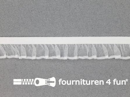 Elastisch ruche band 14mm wit