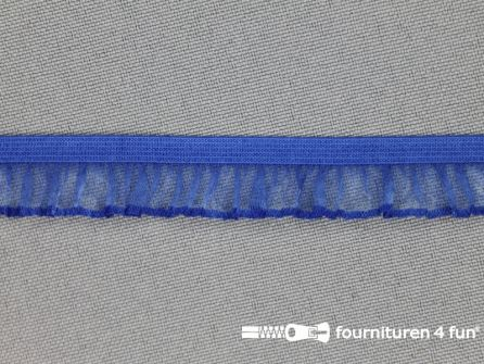 Elastisch ruche band 14mm kobalt blauw