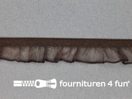 Elastisch ruche band 15mm donker bruin