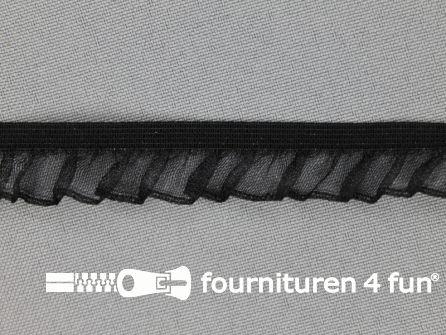 Elastisch ruche band 14mm zwart