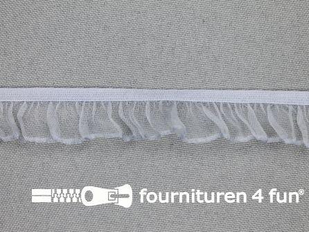 Elastisch ruche band 18mm licht grijs