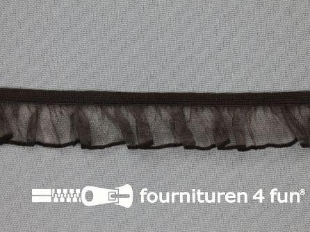 Elastisch ruche band 18mm donker bruin