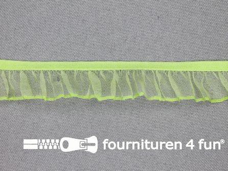 Elastisch ruche band 18mm licht groen