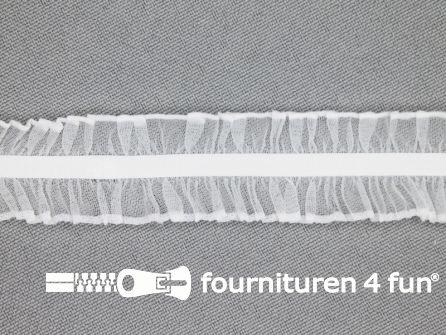 Elastisch ruche band 20mm dubbel wit
