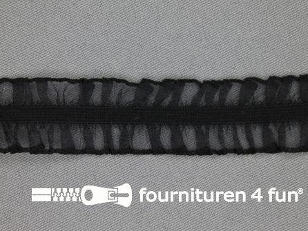 Elastisch ruche band 20mm dubbel zwart