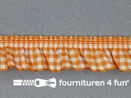 Elastisch ruche band 20mm ruitjes oranje