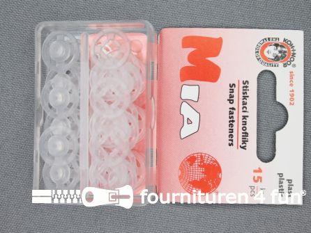 Mantel drukkers 13mm transparant 15 stuks
