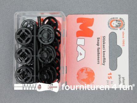 Mantel drukkers kunststof 13mm zwart 15 stuks
