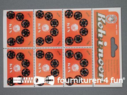Mantel drukkers 12mm zwart 36 stuks