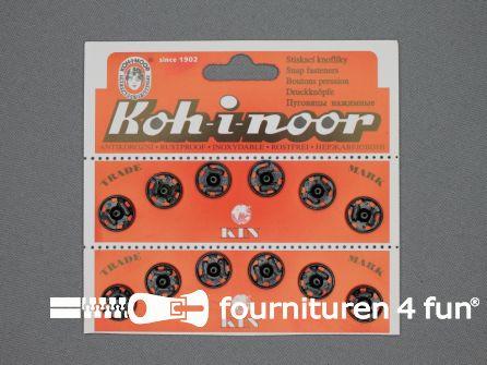 Mantel drukkers 13mm zwart 12 stuks