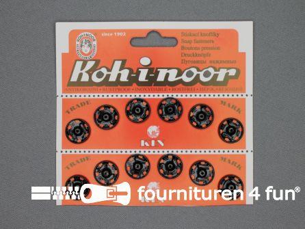 Mantel drukkers 15mm zwart 12 stuks