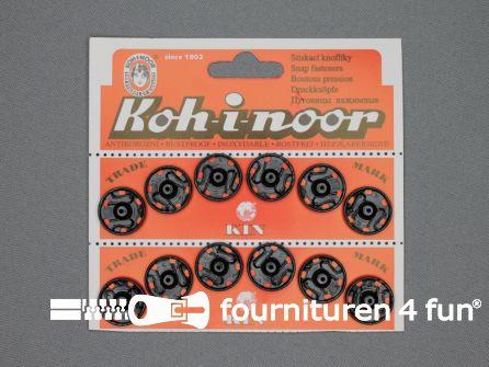 Mantel drukkers 18mm zwart 12 stuks