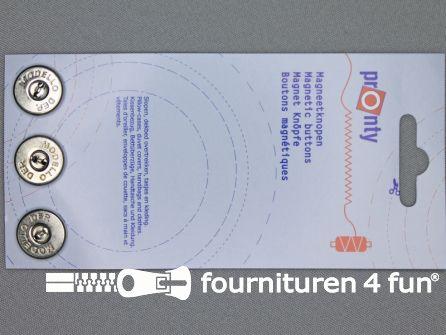 Magneet knopen 18mm Pronty zilver