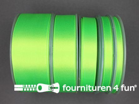 Rol 25 meter satijn lint 9mm neon groen