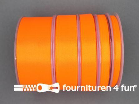 Rol 25 meter satijn lint 15mm neon oranje