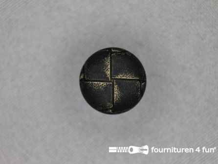 Voetbal knoop 15mm vintage antraciet