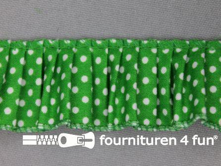 Plissé band 32mm stippen gras groen