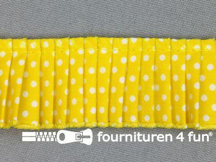 Plissé band 32mm stippen fel geel